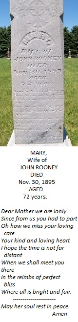 Mary Rooney tombstone side close-up